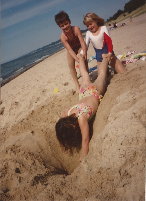 My and my friends, digging another hole (I have a lot of pictures of me and sand holes)