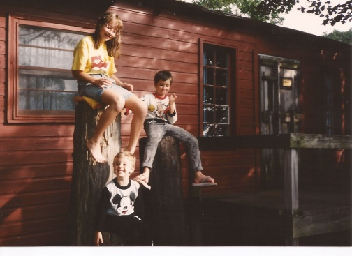 My siblings and I outside our cabin, Rose 2